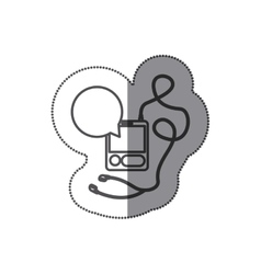 Sticker silhouette with tech portable music device vector