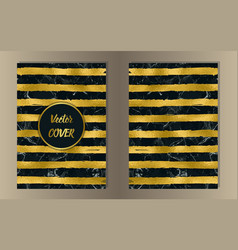 Stripe gold and marble cover set vector