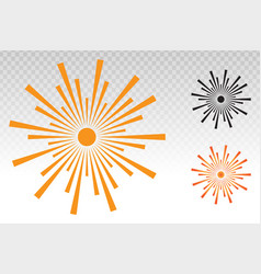 Sun or screen brightness icon on a transparent vector