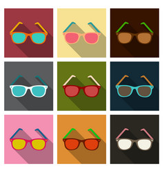 Sunglasses icon with long shadow flat design vector