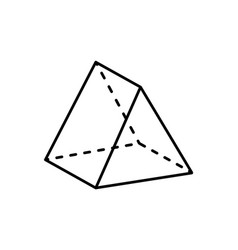 Tetrahedron geometric figure with sharp angles vector