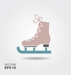 the skates flat icon figure skates symbol vector image