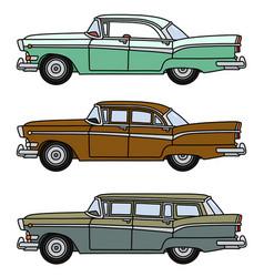 Three old big american cars vector