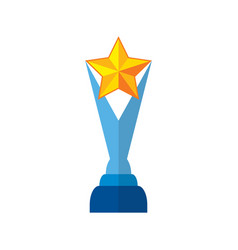 trophy star in yellow success winner award vector image