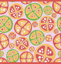 tropical fruits green red pink pattern vector image