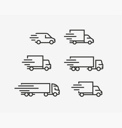 truck icon set freight delivery symbol vector image