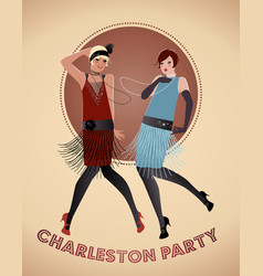 Two flappers girls dancing charleston vector