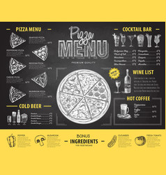 vintage chalk drawing pizza menu design vector image vector image