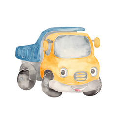 watercolor cute cartoon truck clipart vector image
