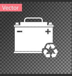 White car battery with recycle icon isolated on vector