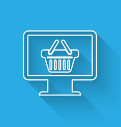 white computer monitor with shopping basket icon vector image