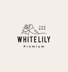 white lily monoline hipster vintage logo icon vector image
