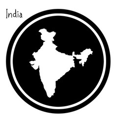 White map of india on black circle vector
