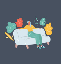 woman sitting on sofa vector image
