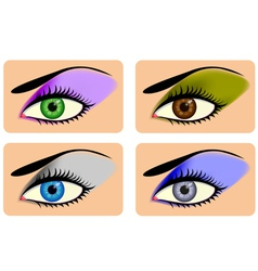 Attractive female eyes with vibrant eye shadow vector image vector image
