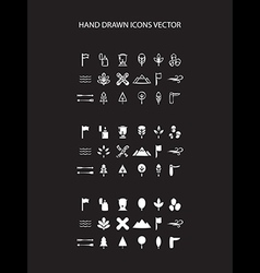 Camping icon set hand drawn on black vector image