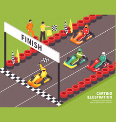 carting race finish background vector image vector image