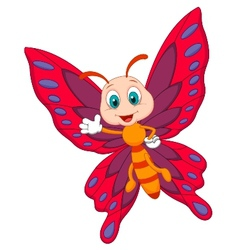 Cute butterfly cartoon waving vector image vector image