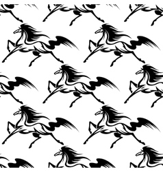 Graceful black horses seamless pattern vector