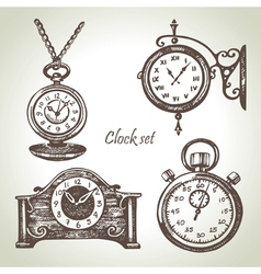 Hand drawn set of clocks and watches vector image vector image