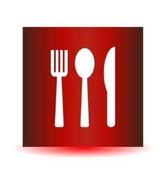 Icon fork spoon knife on a red background vector image