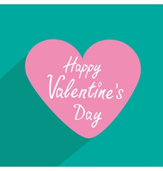 Pink heart with long shadow Valentines Day card vector image