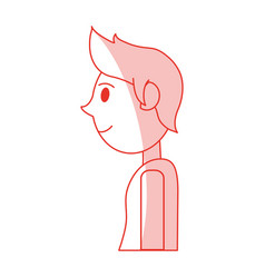 red shading silhouette cartoon side view half body vector image
