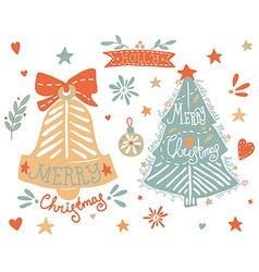 Sketchy elements set with a Christmas tree and a vector image vector image