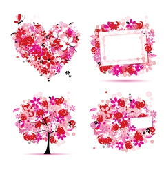 summer pink tree frame vector image