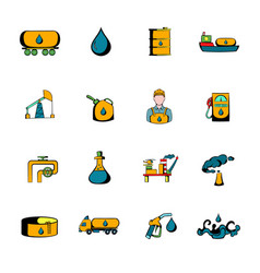 oil industry icons set cartoon vector image vector image