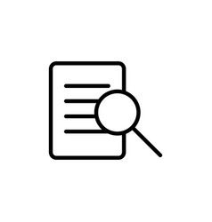 thin line document text search icon vector image