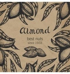 Almond tree design template Almond branch hand vector image