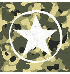 army star on camouflage vector image vector image