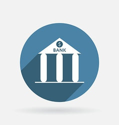 bank building Circle blue icon with shadow vector image