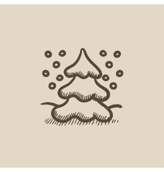 Christmas tree covered with snow sketch icon vector image