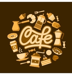 Circle shape of coffee making implements and vector image