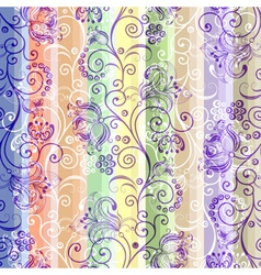 colorful floral seamless striped pattern vector image