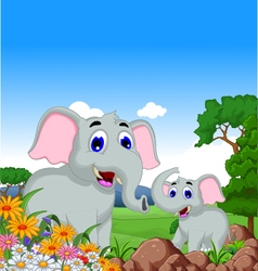 cute elephant cartoon in the jungle vector image
