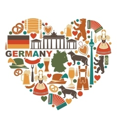 Icons Of Germany in heart shape vector image