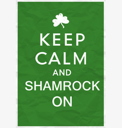 keep calm poster with st patricks day greetings vector image vector image
