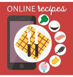 Online cooking recipes application flat vector image vector image