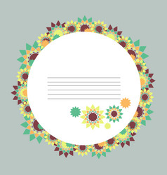 round abstract floral frame vector image vector image