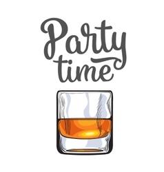 Scotch whiskey rum brandy shot glass invitation vector image vector image