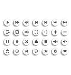 set of audio and video symbols isolated vector image vector image