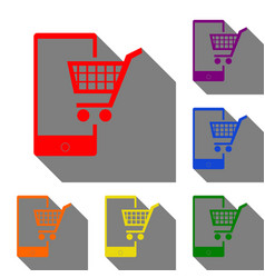 shopping on smart phone sign set of red orange vector image
