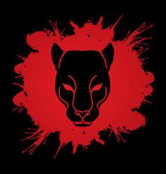 black panther head puma face leopard tiger vector image