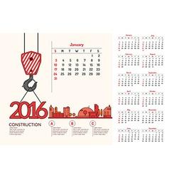 Construction Calendar 2016 vector image