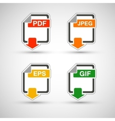 File format flat icon set vector image vector image