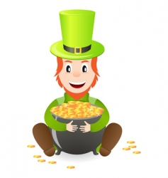 leprechaun with treasure vector image vector image