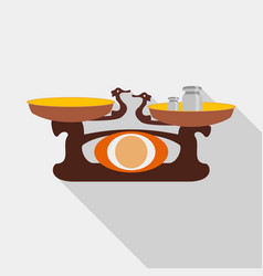 Old golden weighing scale balance icon flat style vector